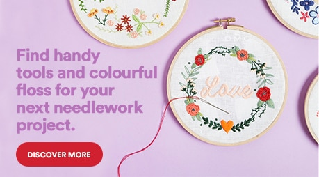 Find handy tools and colourful floss for your next needlework project. Discover more