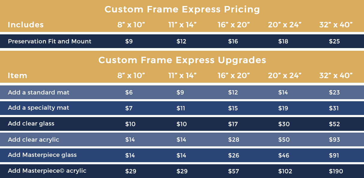 Custom Frame Express Pricing