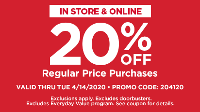 20% OFF Regular Price Purchases