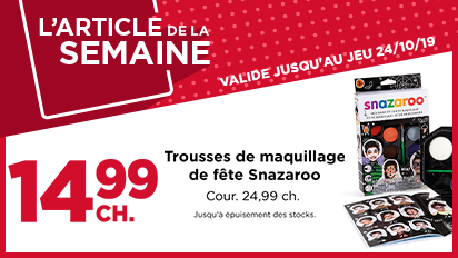 L'ARTICLE DE LA SEMAINE – 14,99 CH. Trousses de manuillage de fête Snazaroo - Cour 24,99 ch.