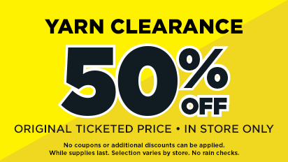 Yarn Clearance – 50% OFF Original Ticketed Price – In store Only