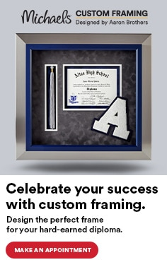 Celebrate your success with custom framing. Design the perfect frame for your hard-earned diploma. Make an appointment