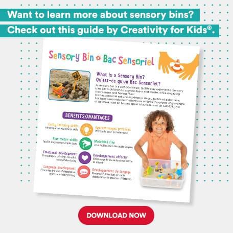 Want to learn more about Sensory Bins? Check out this guide by Creativity for kids. Download Now.