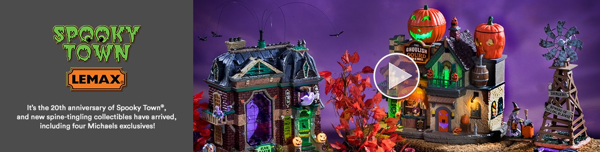 Lemax® Spooky Town®. It's the 20th anniversary of Spooky Town®, and new spine-tingling collectibles have arrived, including for Michaels exclusives! Watch video