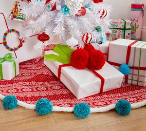 Jupe Pour Sapin De Noël Avec Pompons